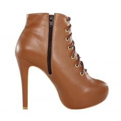 Ankle Boot Cano Curto Caramelo